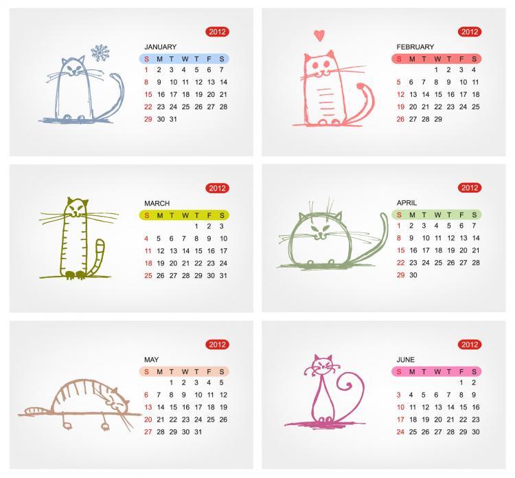 free vector 2012 calendar template 02 vector