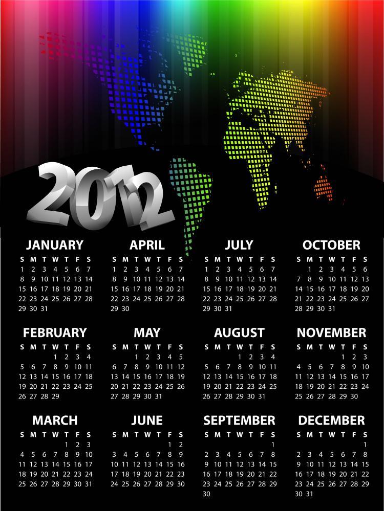 2012 Calendar Template Vector Free Vector 4vector