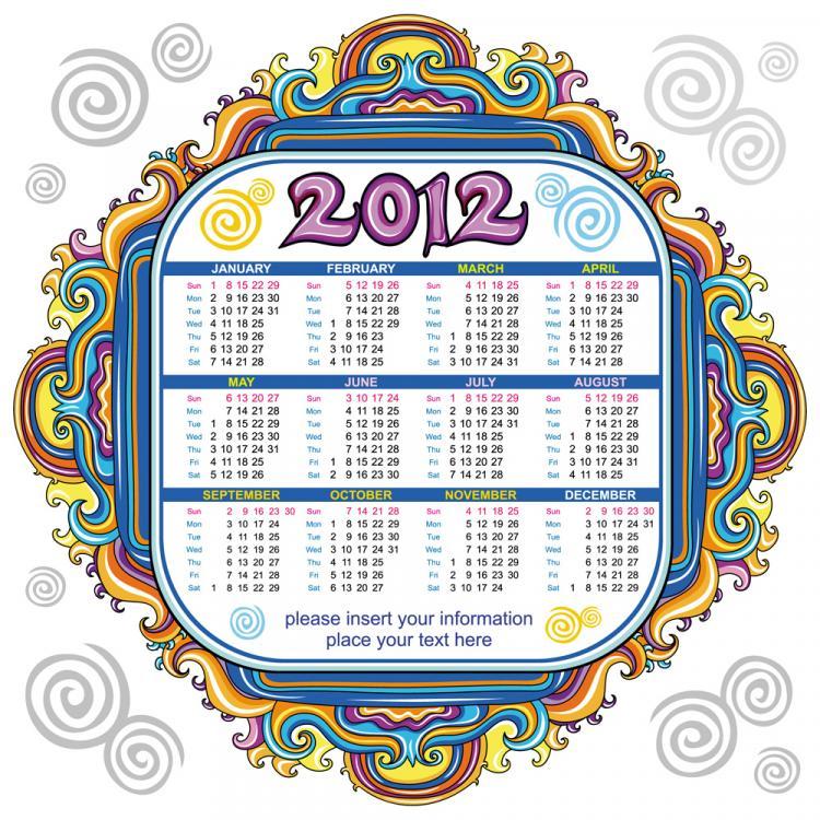 free vector 2012 cartoon calendar 02 vector