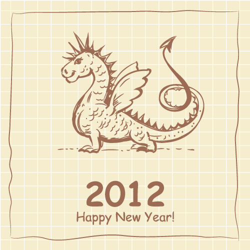 free vector 2012 cartoon dragon cards 01 vector
