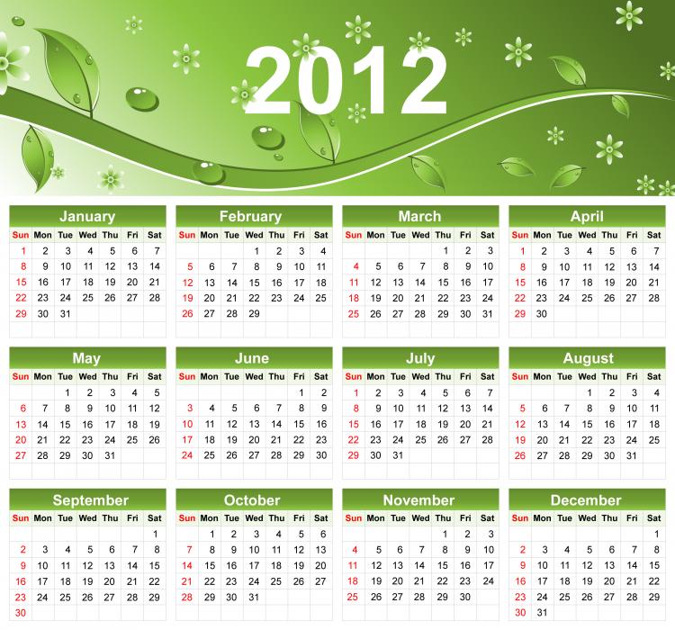 free vector 2012 Eco Green Free Vector Calendar