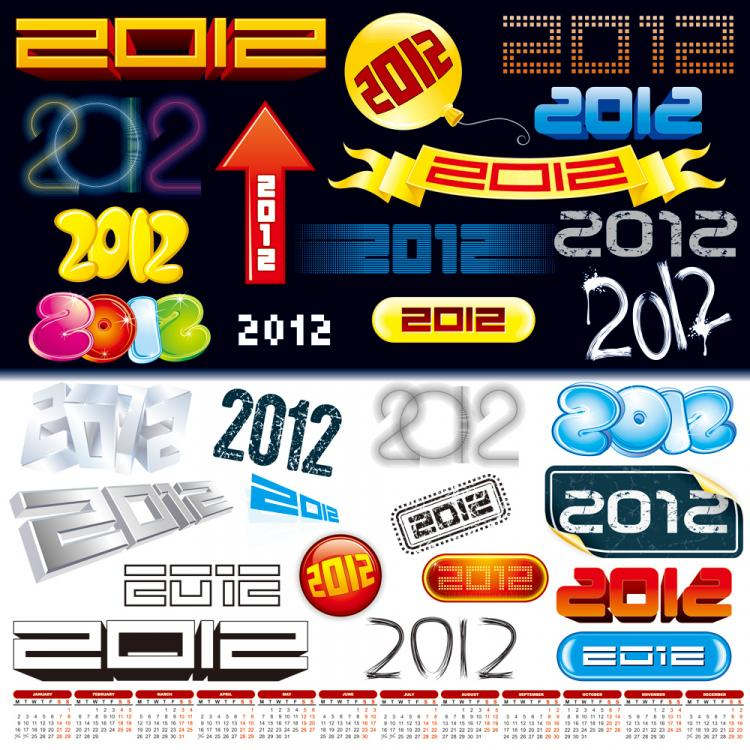 free vector 2012 font design vector