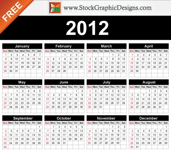 free vector 2012 Free Vector Calendar