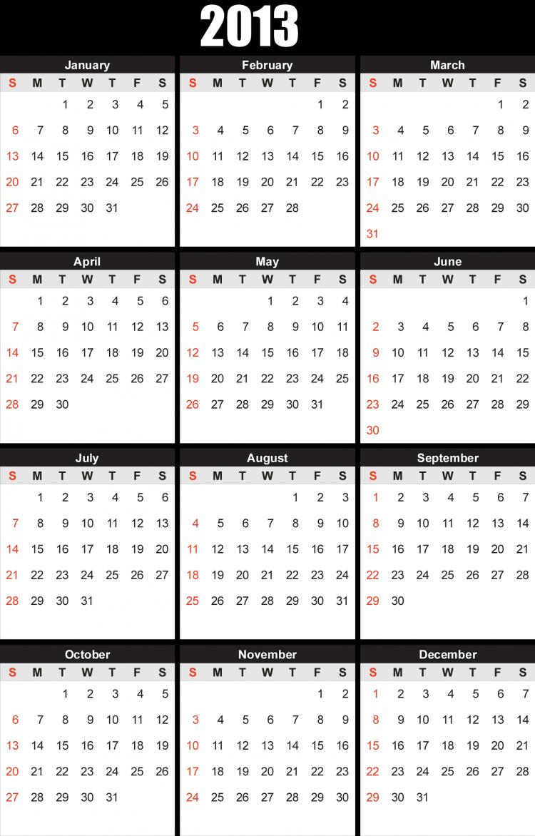 free vector 2013 Free Vector Calendar