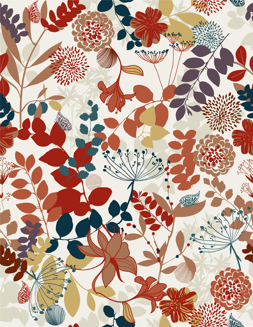 free vector 3 colorful plant pattern vector