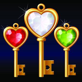 free vector 3 gold diamond heartshaped key vector