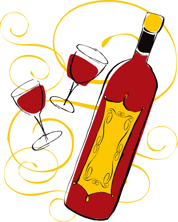 free vector 3 handpainted bottles and glasses style vector
