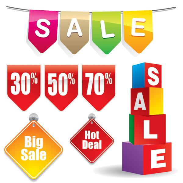 free vector 3 sets of discount sales decorative icon vector