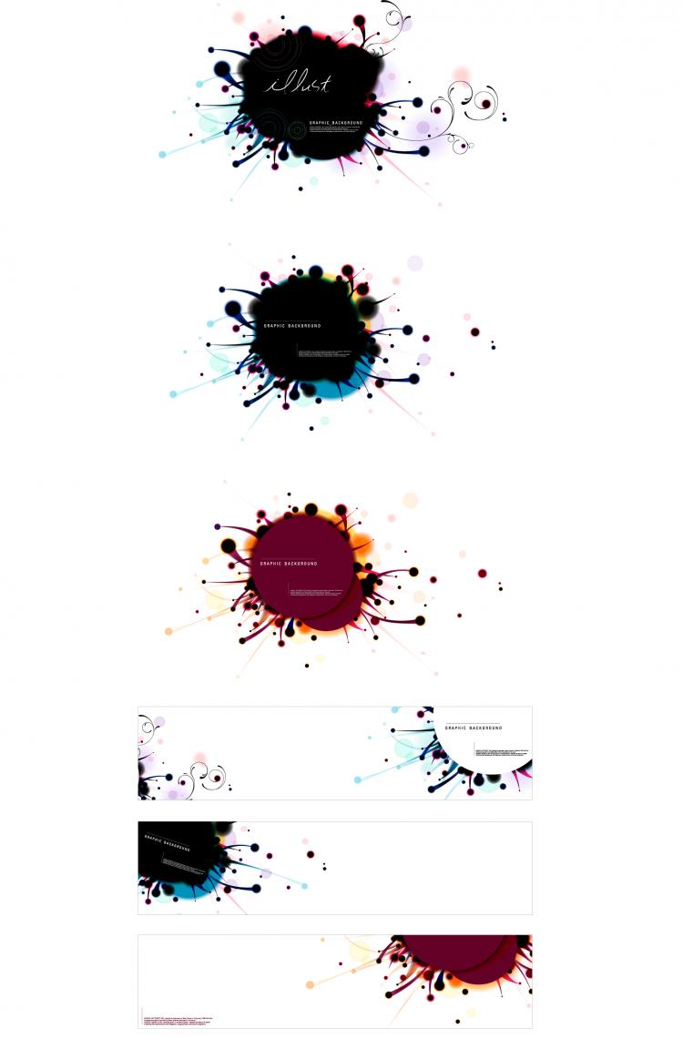 free vector 3 sets of ink dots vector