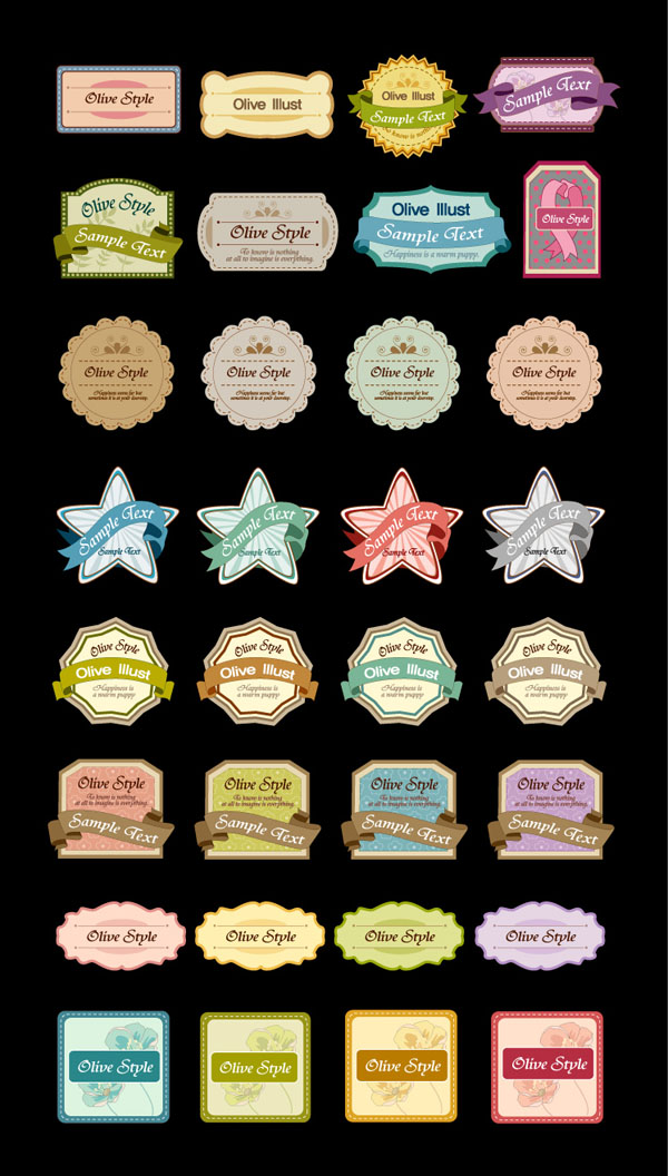 free vector 32 cute label gift card vector