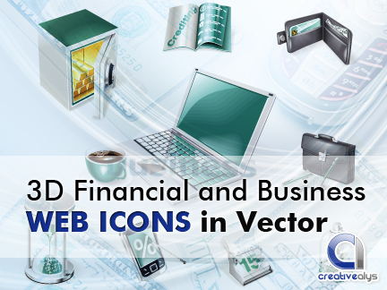 free vector 3D Financial and Business Web Icons