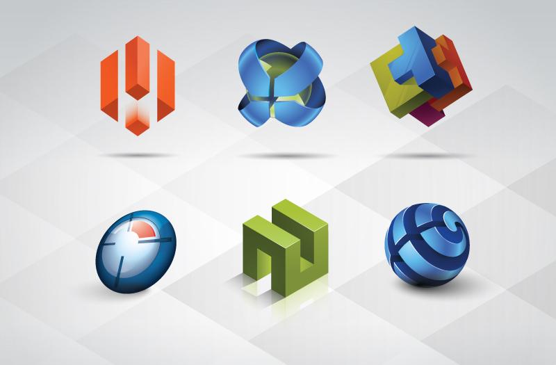 free vector 3D Logo Templates Set