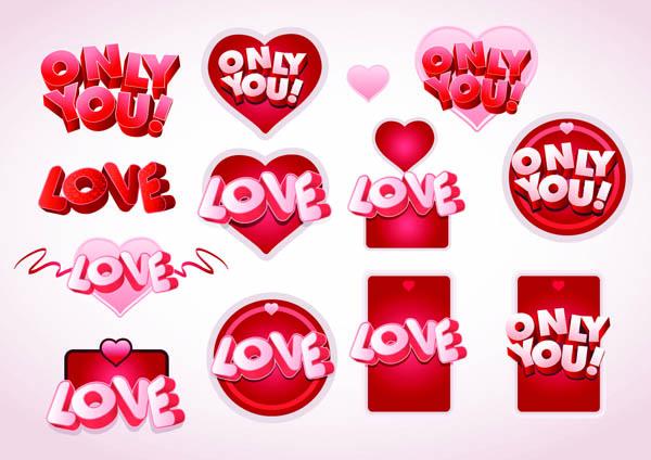 free vector 3d love fonts vector