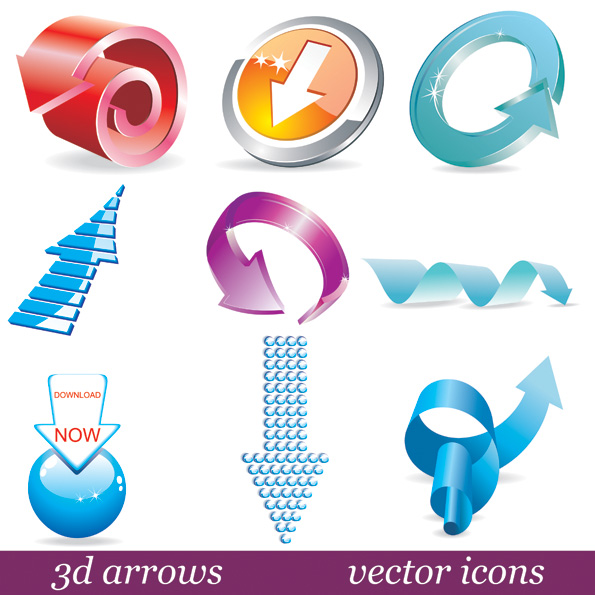 free vector 3d threedimensional arrow icon vector