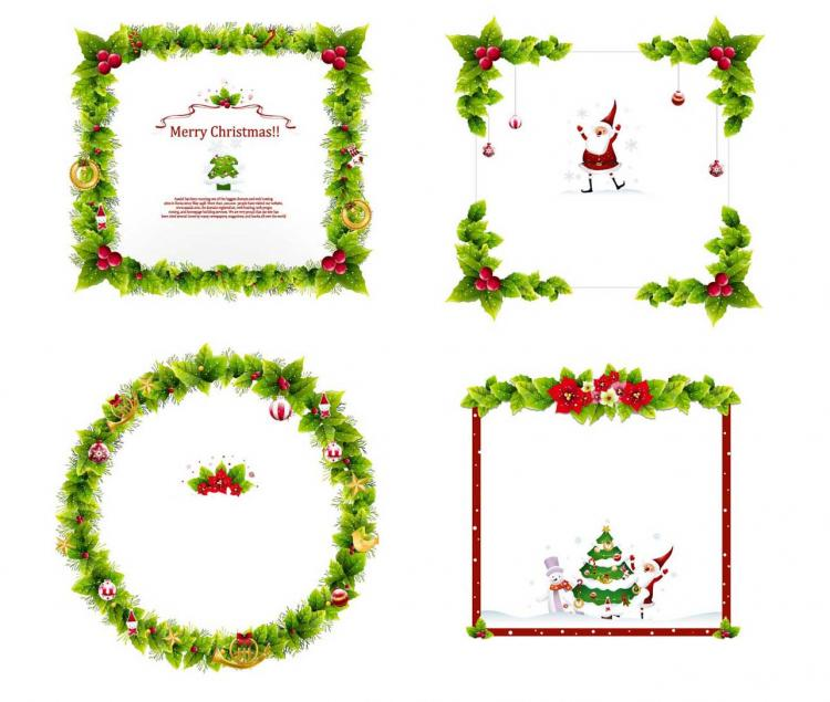 free vector 4 christmas wreath border vector