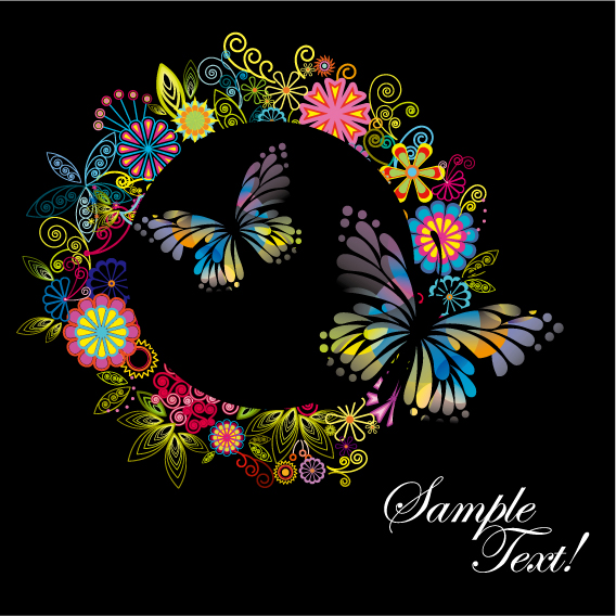 free vector 4 colorful flower theme vector