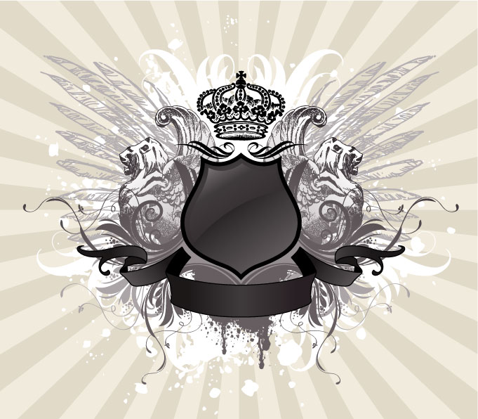 free vector 4 crown wings shield pattern vector