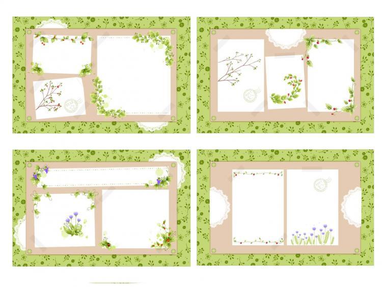 free vector 4 fresh flower vines vector bulletin board