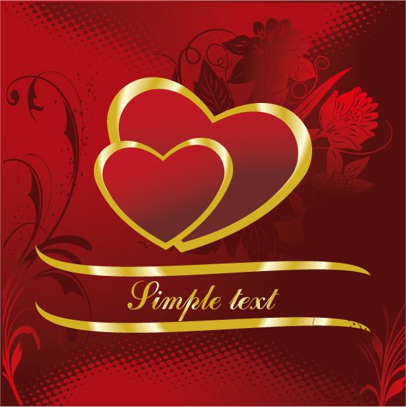 free vector 4 gold heartshaped pattern vector