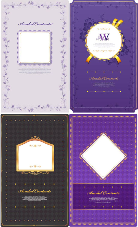 free vector 4 purple pattern card template vector