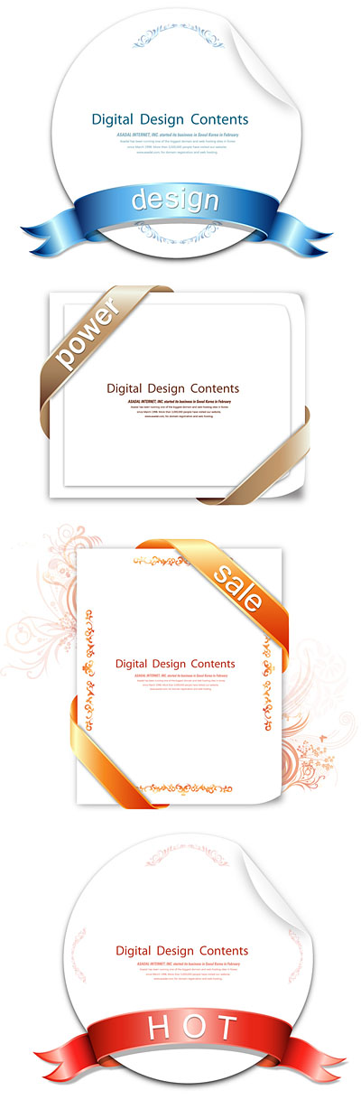 free vector 4 ribbon wrapped around the card vector