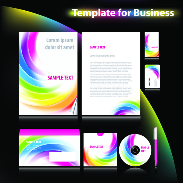 free vector 4 sets of dynamic enterprise vi template vector