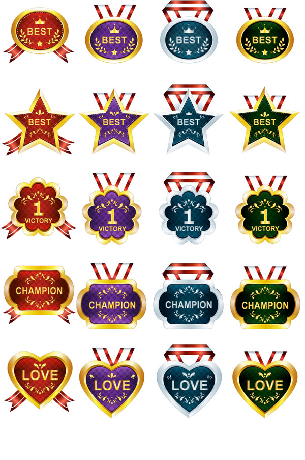 free vector 40 honors and awards ribbons medals vector