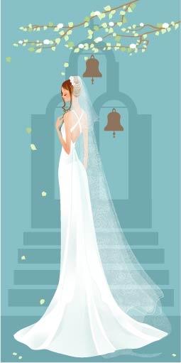 free vector 40 zhang meili wedding bride vector
