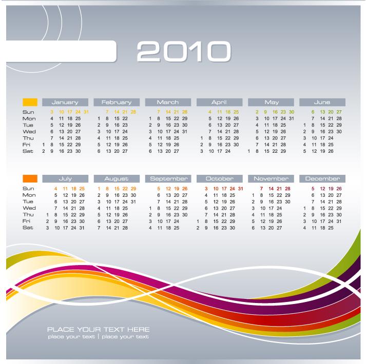 free vector 5 2010 calendar vector