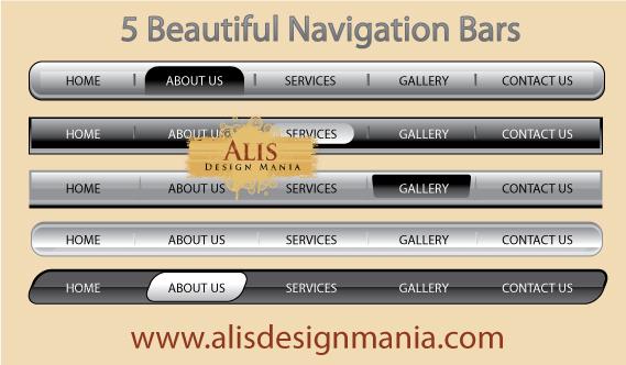 free vector 5 Beautiful Web Navigation Bars