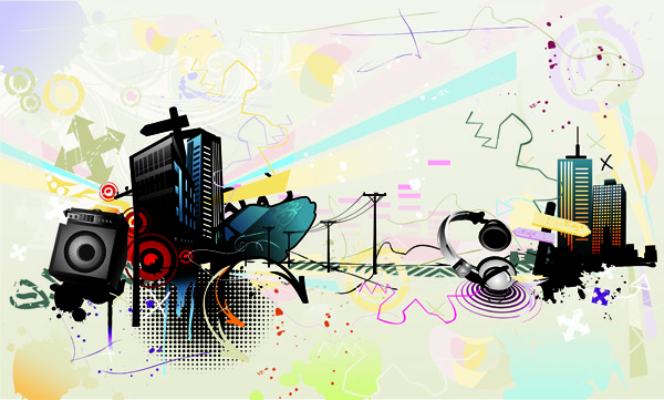 free vector 5 current music illustration vector