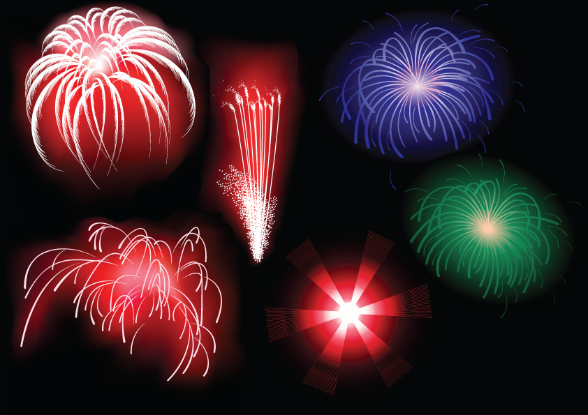 free vector 5 dazzling fireworks vector