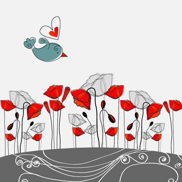 free vector 5 fashion flowers vector