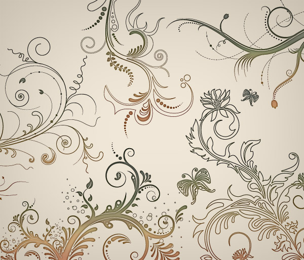 free vector 5 Floral Ornaments Vector