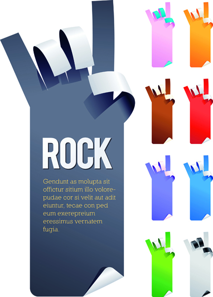 free vector 5 kinds of gestures shaped paper paper vector