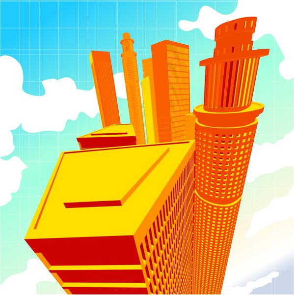 free vector 5 office building vector