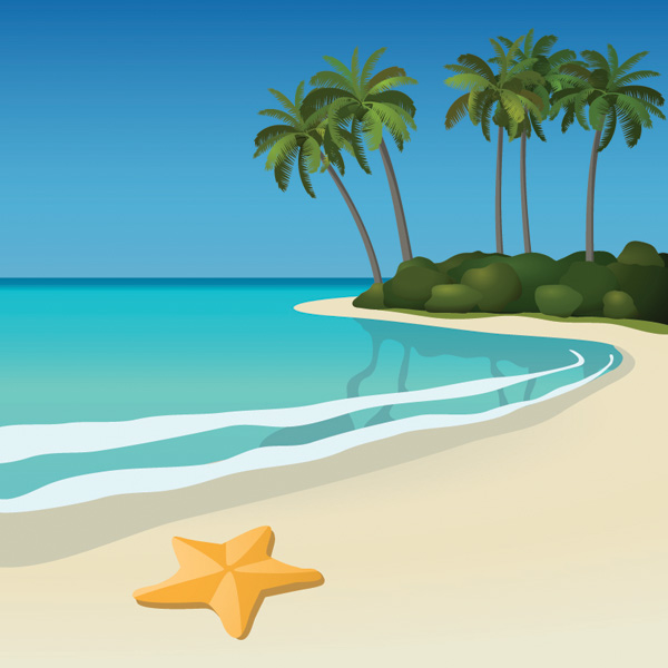 free vector 5 seaside scenery vector