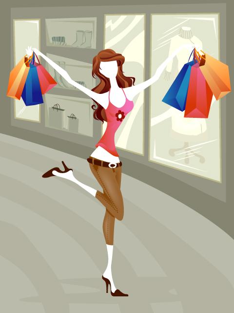 free vector 5 vector fashion shopping girl