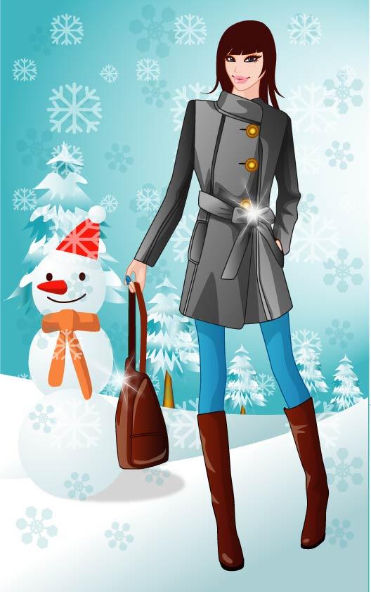 free vector 5 vector winter women