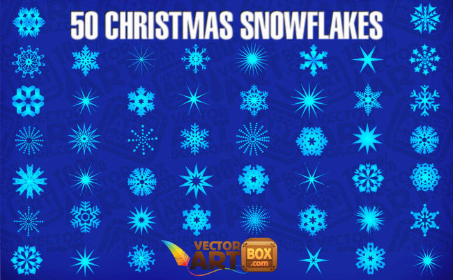 free vector 50 Christmas Snowflakes