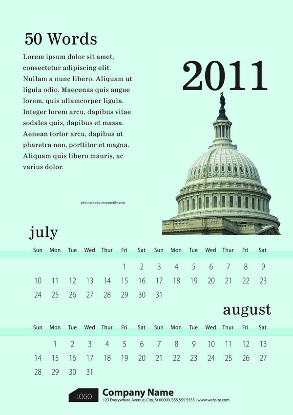 free vector 6 exquisite 2011 calendar template vector