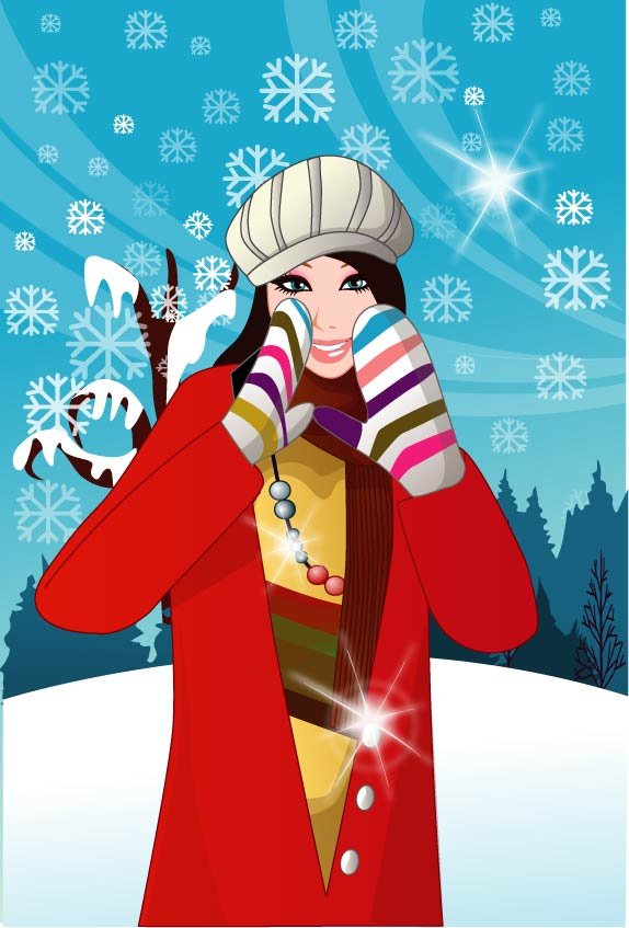 free vector 6 vector winter women