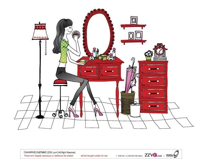 free vector 7 simple vector drawing women