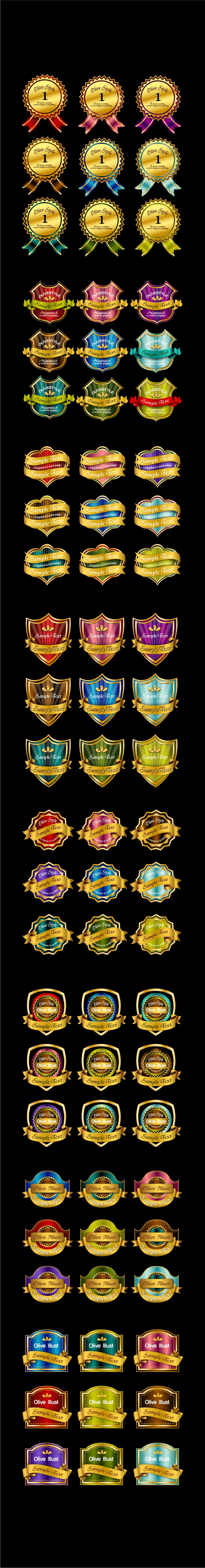 free vector 72 gold medals ribbon tag vector