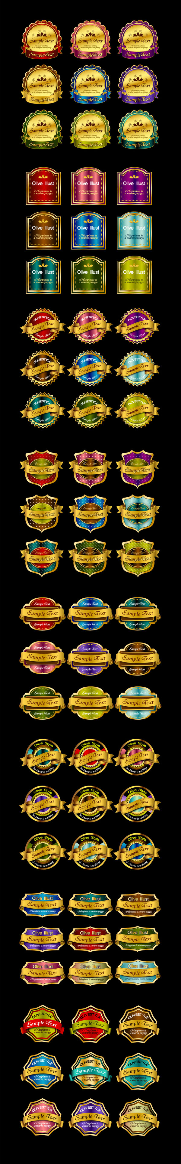 free vector 72 gold medals ribbon tag vector