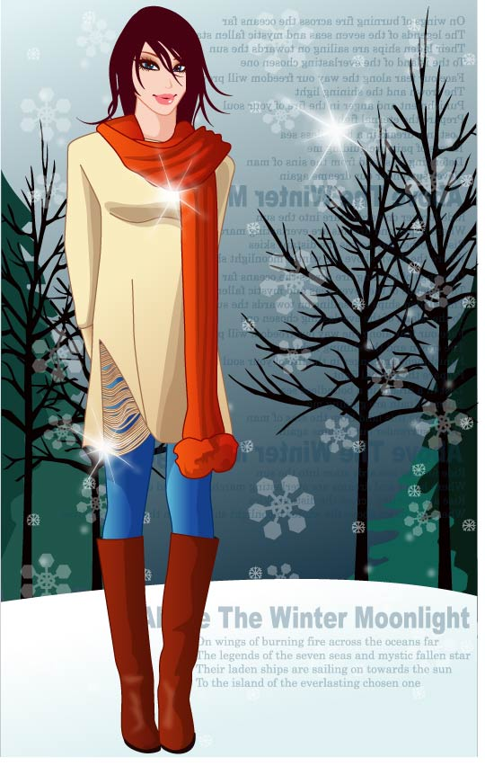 free vector 8 vector winter women