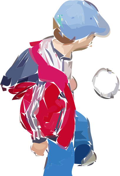 free vector A Boy Plays Soccer clip art