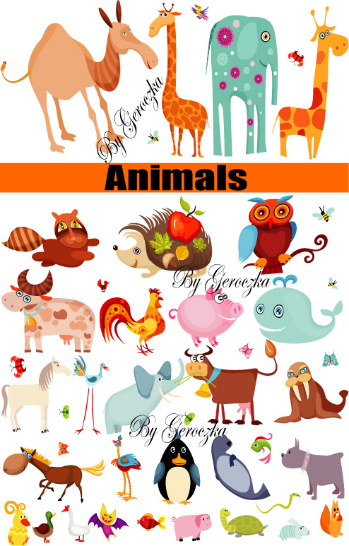 free vector A group of animals was vector