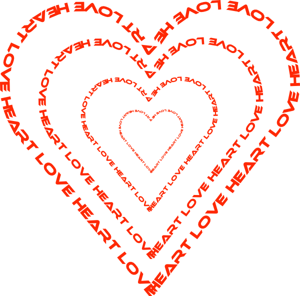 free vector A Heart Done By Words Outline clip art