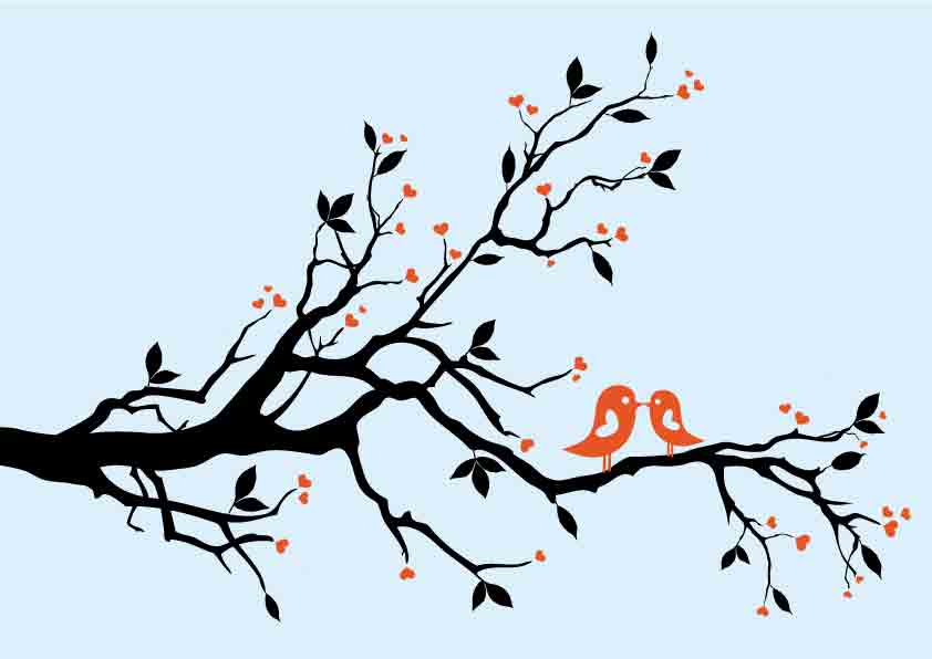 A pair of birds on branches (4154) Free EPS Download / 4 Vector